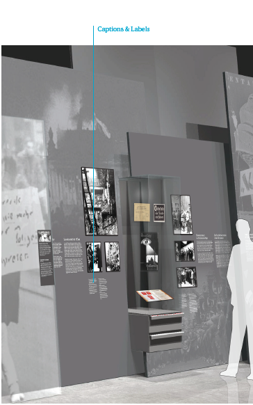 Position of caption and labels on the exhibit wall