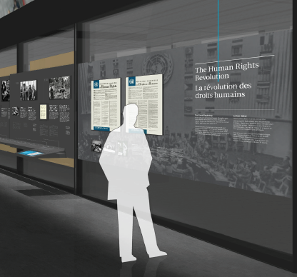 A representation of exhibit primary body text for visitors who are in standing position