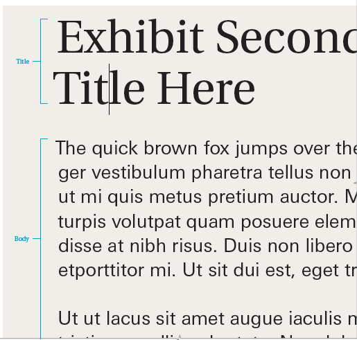 A representation of secondary title and body text
