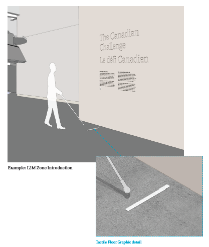 Visitors can find the tactile floor markers while navigating through a cane